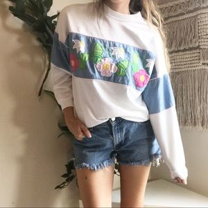 Vintage Oversized Floral Embroidered Sweater